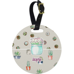 Cactus Round Luggage Tag (Personalized)
