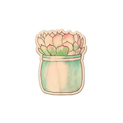 Cactus Genuine Maple or Cherry Wood Sticker (Personalized)