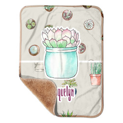 """Cactus Sherpa Baby Blanket 30"""" x 40"""" (Personalized)"""