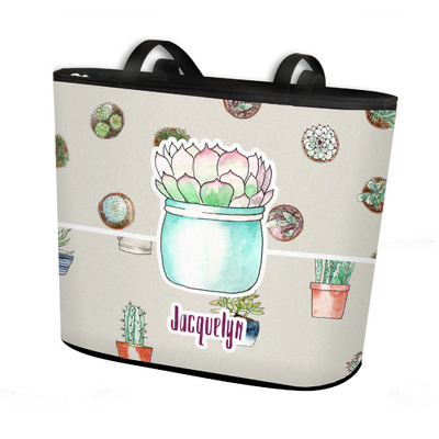 Cactus Bucket Tote w/ Genuine Leather Trim (Personalized)