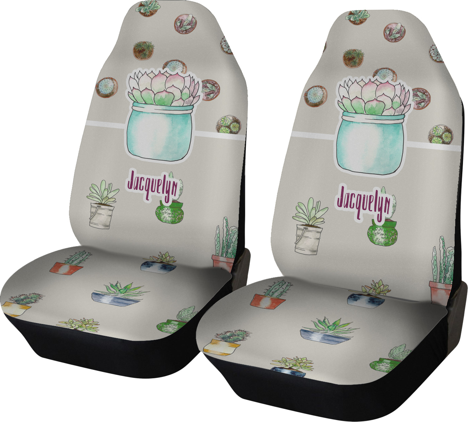 Cactus Car Seat Covers Set Of Two Personalized