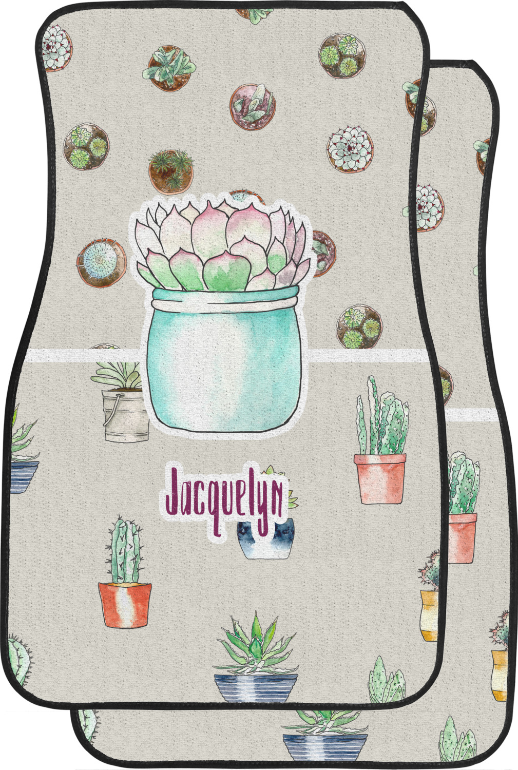 Cactus Car Floor Mats Front Seat Personalized