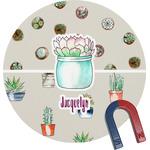 Cactus Round Fridge Magnet (Personalized)