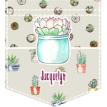 Cactus Iron On Faux Pocket (Personalized)