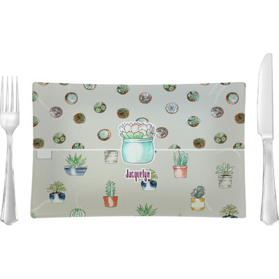 Cactus Rectangular Glass Lunch / Dinner Plate - Single or Set (Personalized)