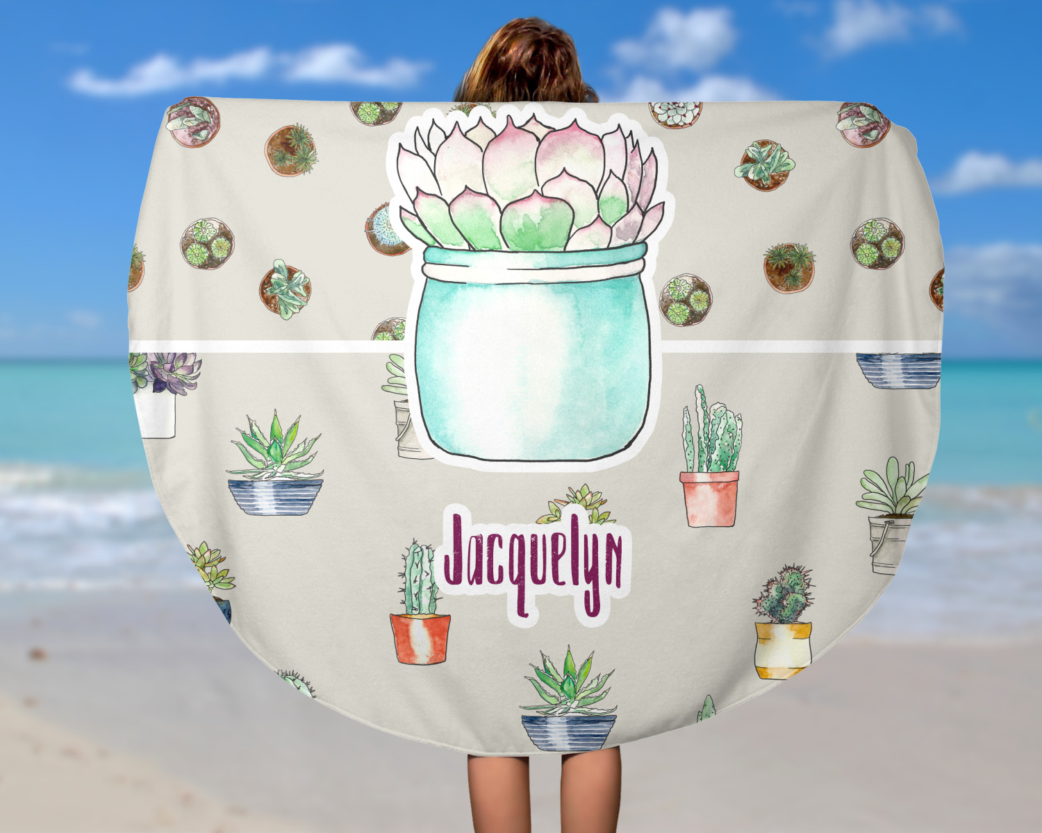 Cactus Round Beach Towel Personalized Youcustomizeit