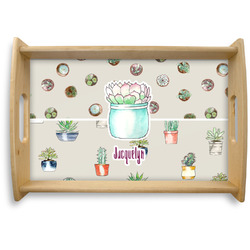 Cactus Natural Wooden Tray - Small (Personalized)