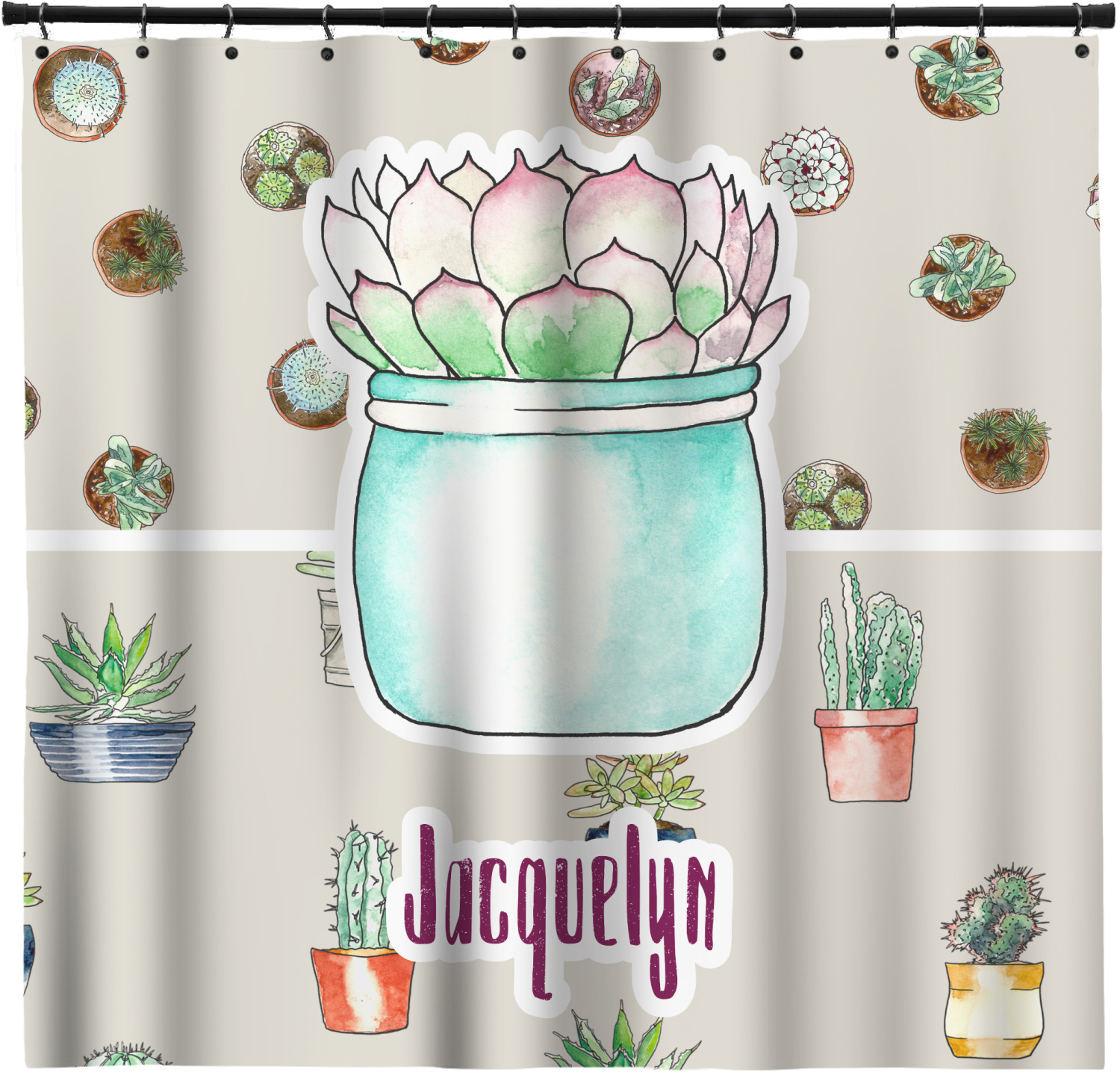 Succulents Shower Curtain Custom Width Height Personalized Youcustomizeit