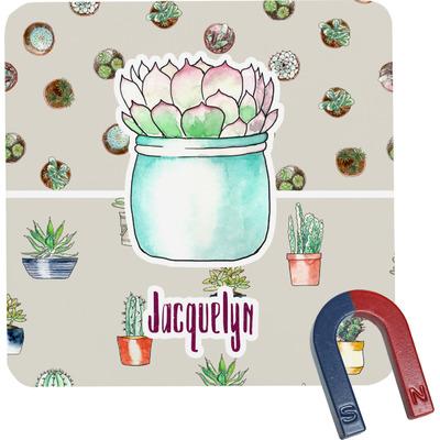 Cactus Square Fridge Magnet (Personalized)