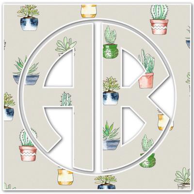 Cactus Monogram Decal - Custom Sizes (Personalized)