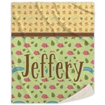 Summer Camping Sherpa Throw Blanket (Personalized)