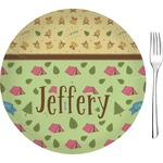 "Summer Camping Glass Appetizer / Dessert Plates 8"" - Single or Set (Personalized)"