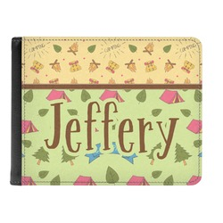 Summer Camping Genuine Leather Men's Bi-fold Wallet (Personalized)