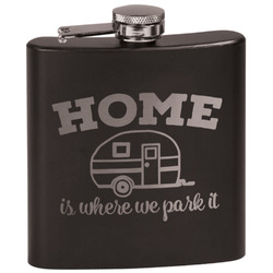 Summer Camping Black Flask (Personalized)