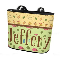 Summer Camping Bucket Tote w/ Genuine Leather Trim (Personalized)