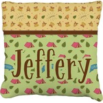 Summer Camping Faux-Linen Throw Pillow (Personalized)