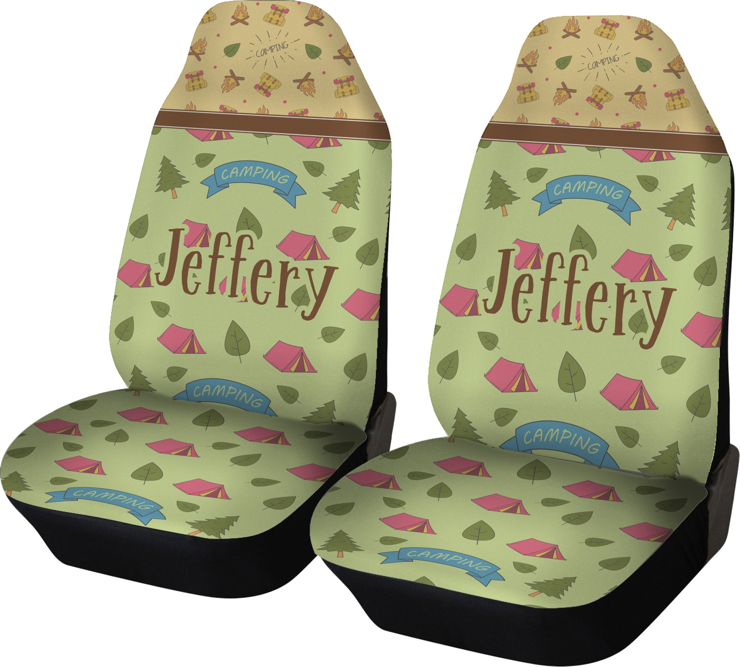 summer camping car seat covers set of two personalized you customize it. Black Bedroom Furniture Sets. Home Design Ideas
