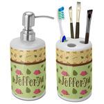 Summer Camping Ceramic Bathroom Accessories Set (Personalized)