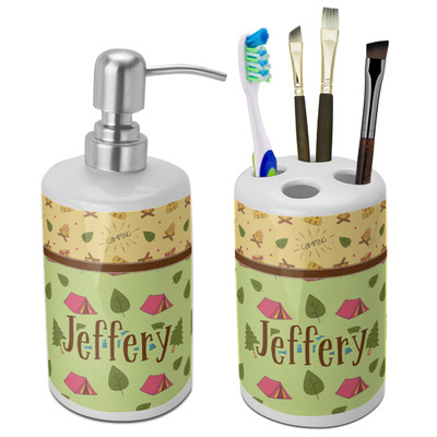 Summer Camping Bathroom Accessories Set (Ceramic) (Personalized)