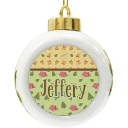 Summer Camping Ceramic Ball Ornament (Personalized)