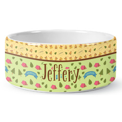 Summer Camping Ceramic Dog Bowl (Personalized)