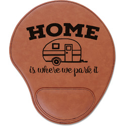 Summer Camping Leatherette Mouse Pad with Wrist Support (Personalized)