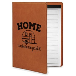 Summer Camping Leatherette Portfolio with Notepad - Small - Single Sided (Personalized)