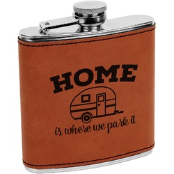Summer Camping Leatherette Wrapped Stainless Steel Flask (Personalized)