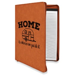 Summer Camping Leatherette Zipper Portfolio with Notepad (Personalized)