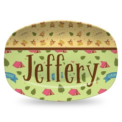 Summer Camping Plastic Platter - Microwave & Oven Safe Composite Polymer (Personalized)