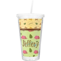 Summer Camping Double Wall Tumbler with Straw (Personalized)