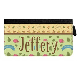 Summer Camping Genuine Leather Ladies Zippered Wallet (Personalized)