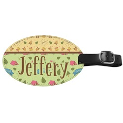 Summer Camping Genuine Leather Oval Luggage Tag (Personalized)