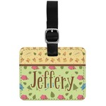 Summer Camping Genuine Leather Rectangular  Luggage Tag (Personalized)