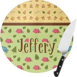 Summer Camping Round Glass Cutting Board (Personalized)
