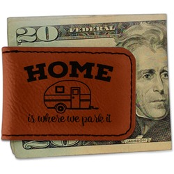 Summer Camping Leatherette Magnetic Money Clip - Single Sided (Personalized)
