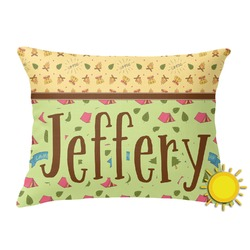 Summer Camping Outdoor Throw Pillow (Rectangular) (Personalized)