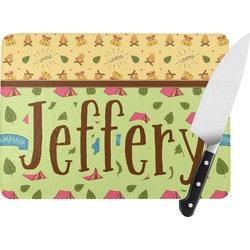 Summer Camping Rectangular Glass Cutting Board (Personalized)