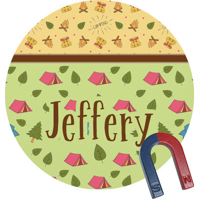 Summer Camping Round Fridge Magnet (Personalized)