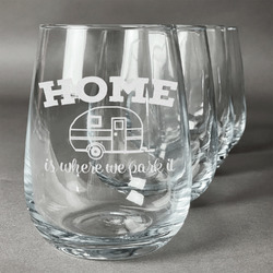 Summer Camping Stemless Wine Glasses (Set of 4) (Personalized)