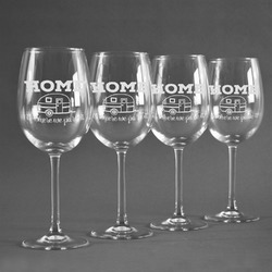 Summer Camping Wineglasses (Set of 4) (Personalized)
