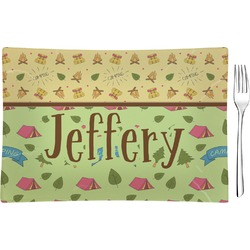 Summer Camping Glass Rectangular Appetizer / Dessert Plate - Single or Set (Personalized)