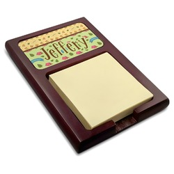 Summer Camping Red Mahogany Sticky Note Holder (Personalized)