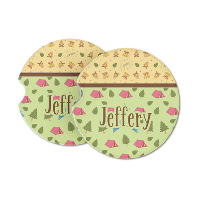 Summer Camping Sandstone Car Coasters (Personalized)