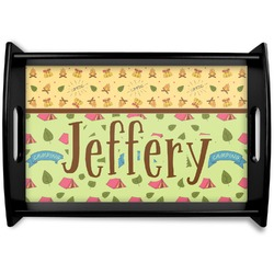 Summer Camping Black Wooden Tray (Personalized)