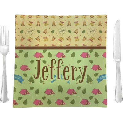 """Summer Camping 9.5"""" Glass Square Lunch / Dinner Plate- Single or Set of 4 (Personalized)"""