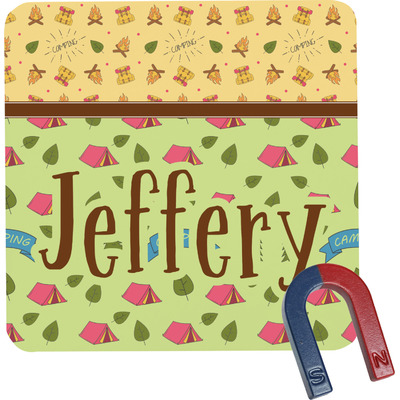 Summer Camping Square Fridge Magnet (Personalized)
