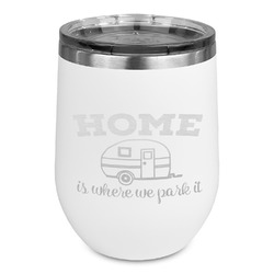 Summer Camping Stemless Wine Tumbler - 5 Color Choices - Stainless Steel  (Personalized)