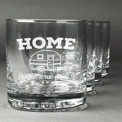 Summer Camping Whiskey Glasses (Set of 4) (Personalized)