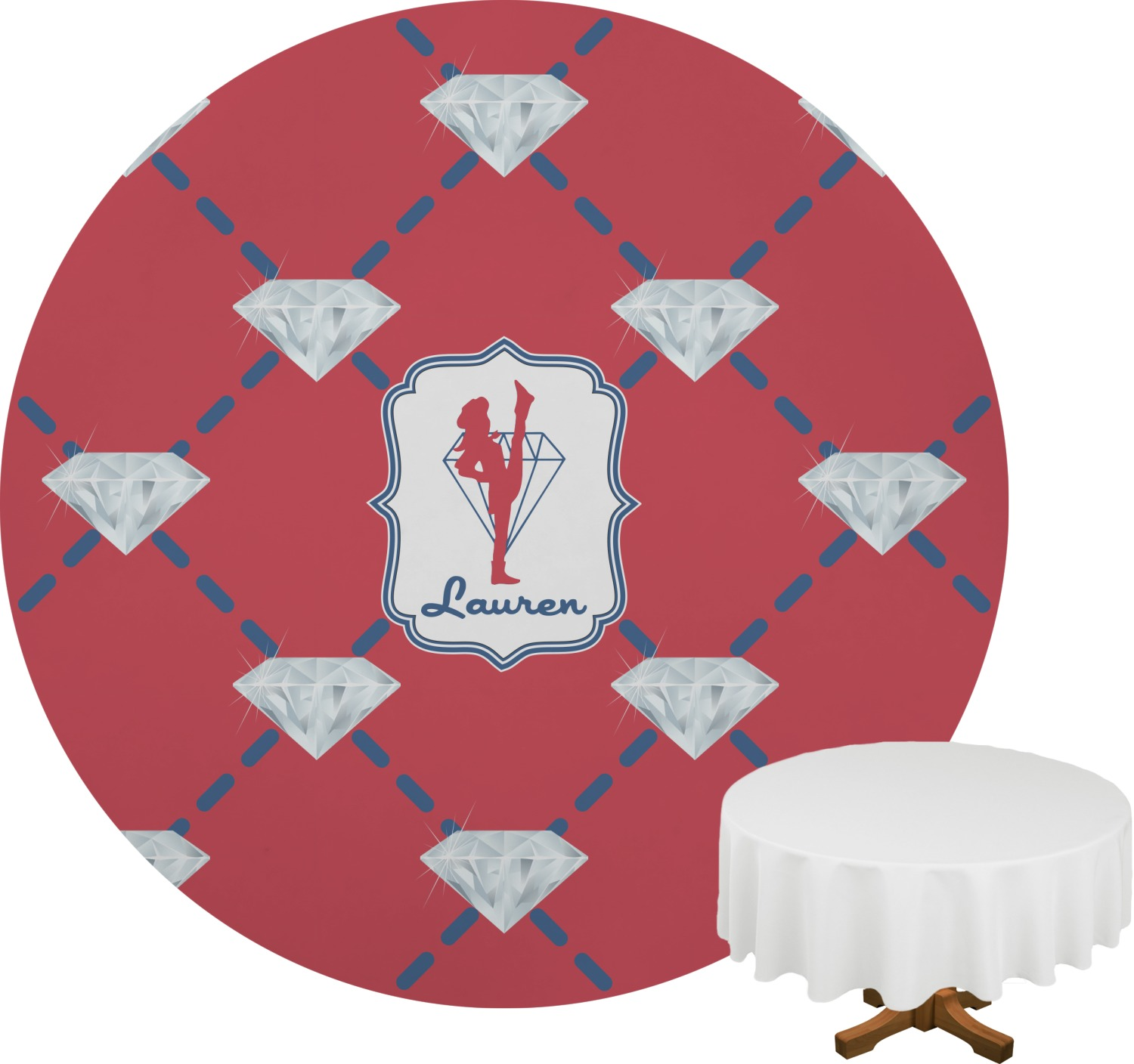 Red Diamond Dancers Round Table Cloth 70 Personalized